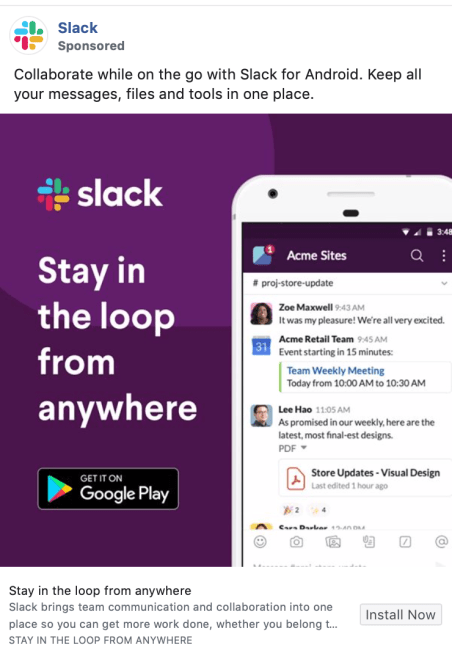 slack facebook ad example