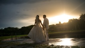 Sunset wedding Deering Estate Miami