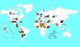 Worlds map of ceramic