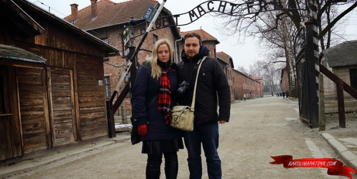 karolina&patryk entrance to nazi camp