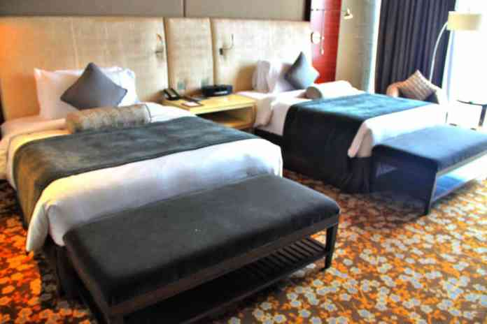 Two twin beds at Marina Bay Sands Hotel Singapore