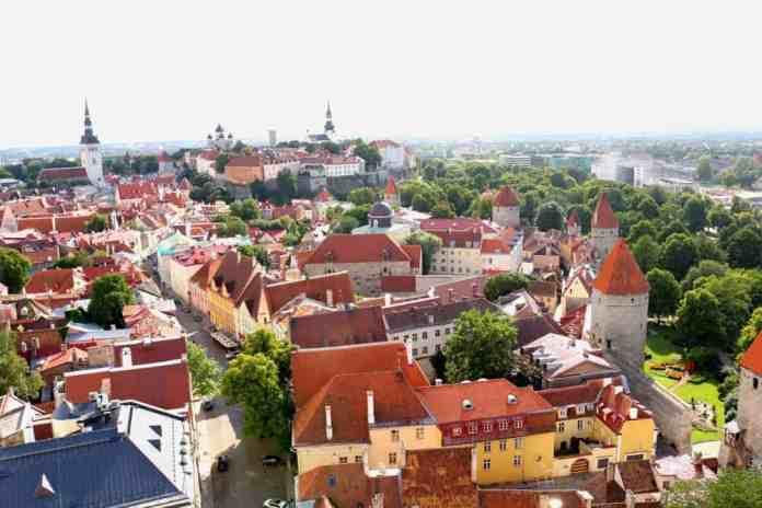 Aerial view from St Olav's Church in Tallinn