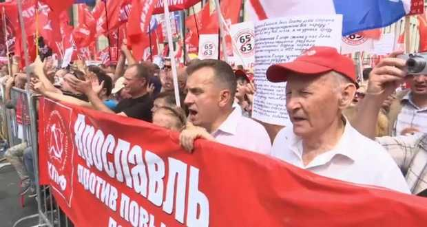 A nyugdíjkorhatár felemelése ellen tiltakoztak Oroszország-szerte
