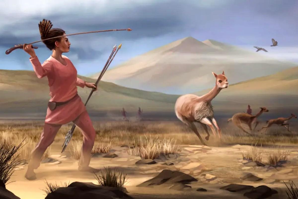 ősember vadászó nő