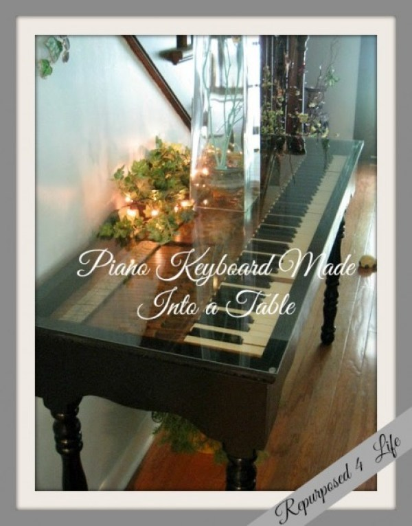 Piano Keyboard Made Into a Table Repurposed 4 Life