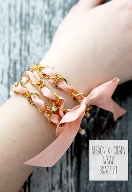 Flamingo Toes -Ribbon-and-Chain-Wrap-Bracelet