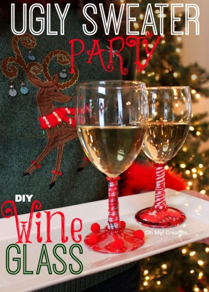 OhMy-Creative.com Ugly-Christmas-Sweater-Party-DIY-Wine-Glasses