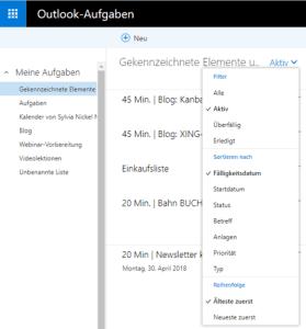Outlook Aufgaben WebApp Sreenshot