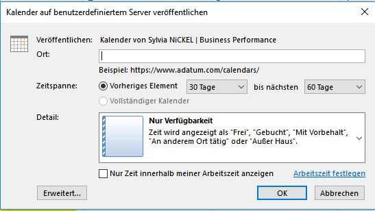 Outlook Kalenderfreigabe Screenshot © Sylvia NiCKEL