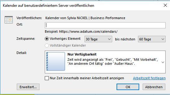 Outlook Kalenderfreigabe Screenshot © Sylvia NiCKEL