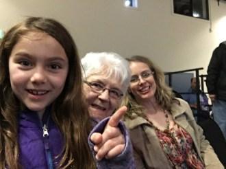 Mia, Donna, and I mug for Pastor Karen.