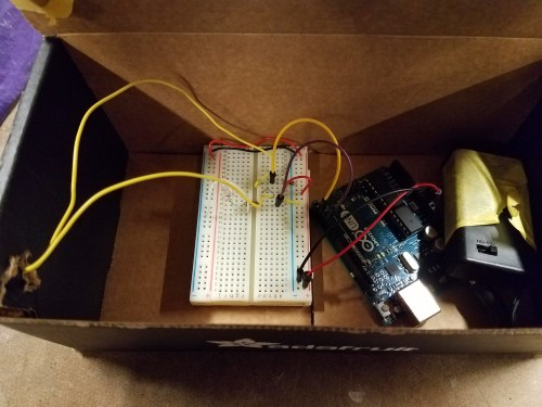 Inside of the rough prototype using the arduino uno before the the trinket.