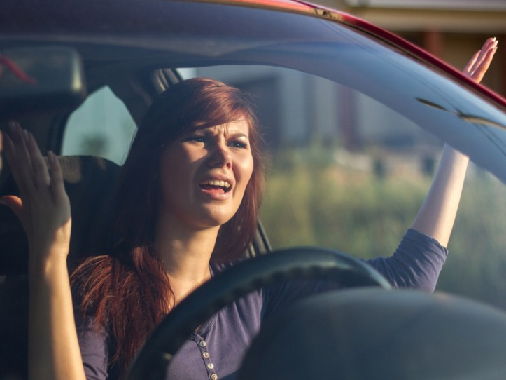 frustrated woman driver
