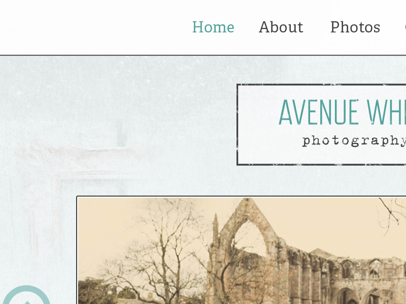 Screenshot of Avenue White Photography home page design.