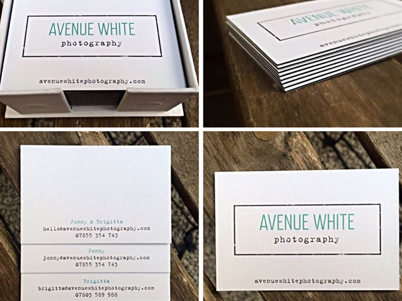 Avenue White business card design.