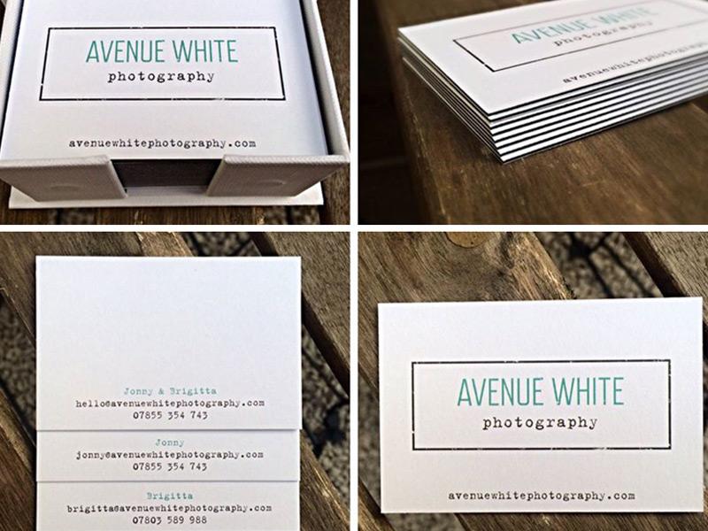 Avenue White business card design.