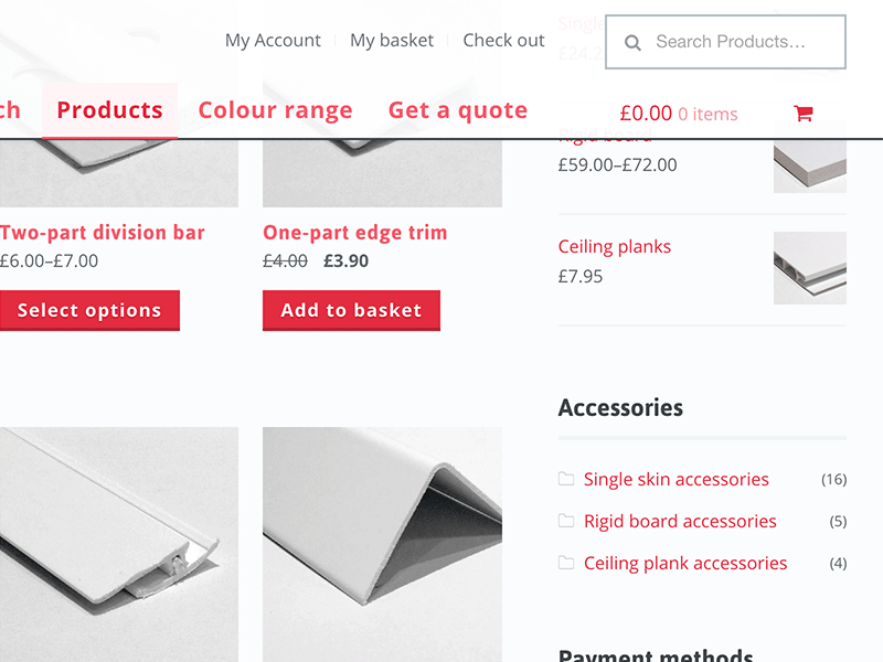 EasyClad web design harrogate  search, filter, purchase wall cladding products.