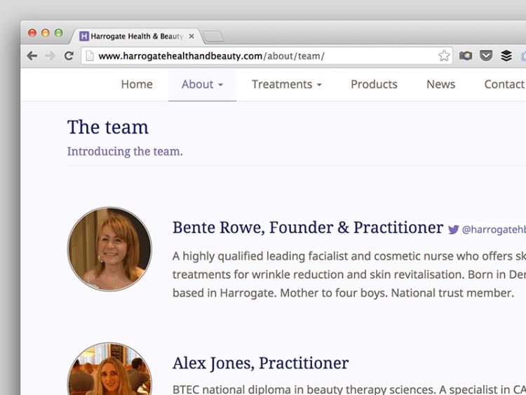 Screenshot of Harrogate Health & Beauty team page.