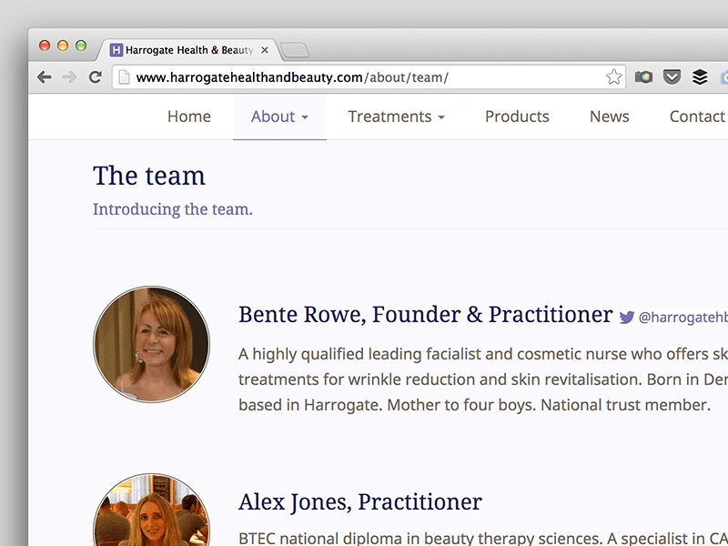 Screenshot of Harrogate Health & Beauty team page.