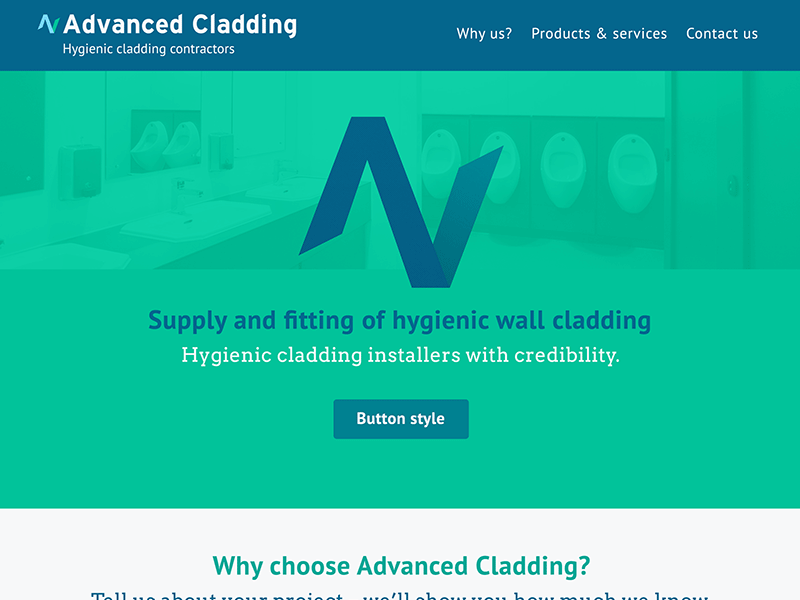 Screenshot of Advanced Clading, Harrogate web design.