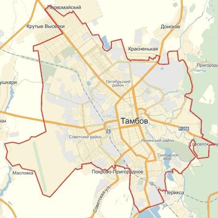 Онлайн карта Тамбова с улицами номерами домов 2017