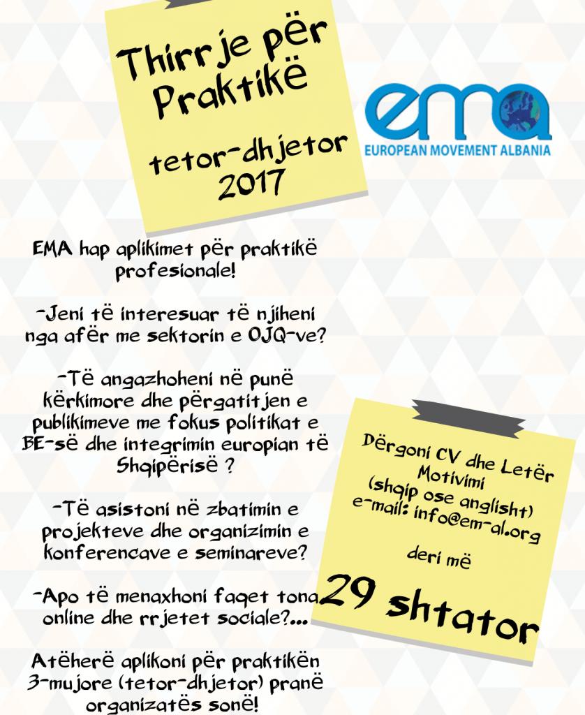 Praktikë 3-mujore për periudhën tetor-dhjetor 2017