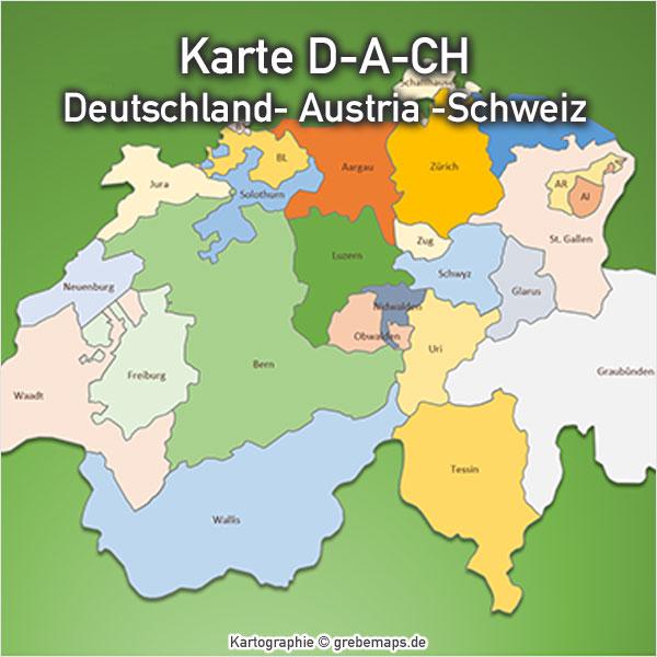 Powerpoint Karte D A Ch Deutschland Austria Schweiz Mit Bundesländern Kantonen
