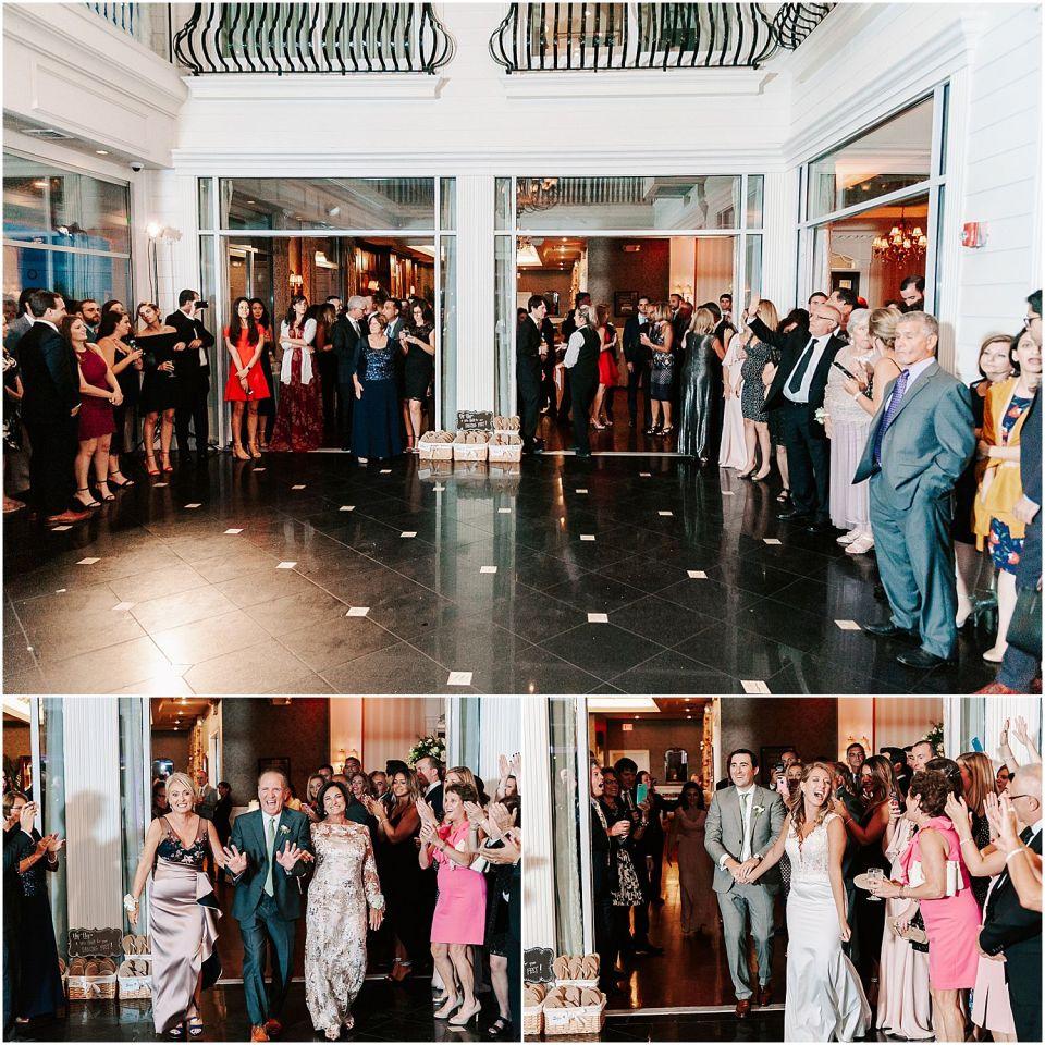 Capturing the wedding entrance into the reception at this Mallard Island Yacht Club Wedding