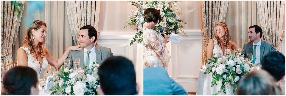 Capturing the the speeches during the reception at this Mallard Island Yacht Club Wedding