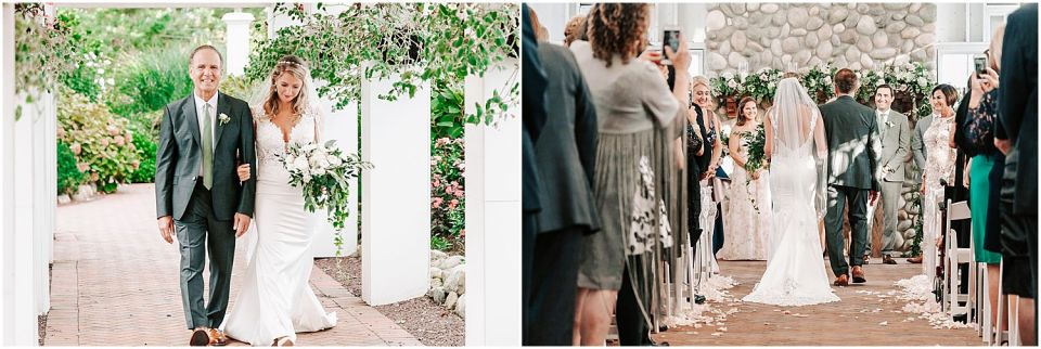 Capturing the bride walking in with her father at this Mallard Island Yacht Club Wedding