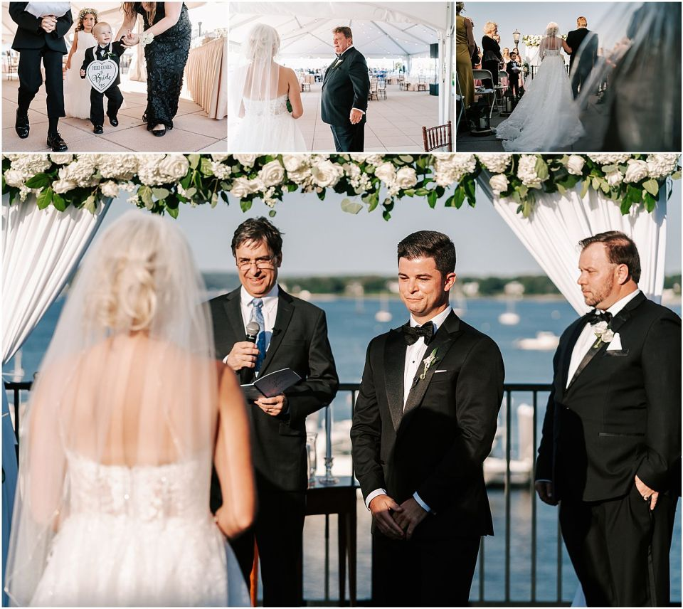 A groom crying as he sees his lovely bride at this Molly Pitcher Inn wedding