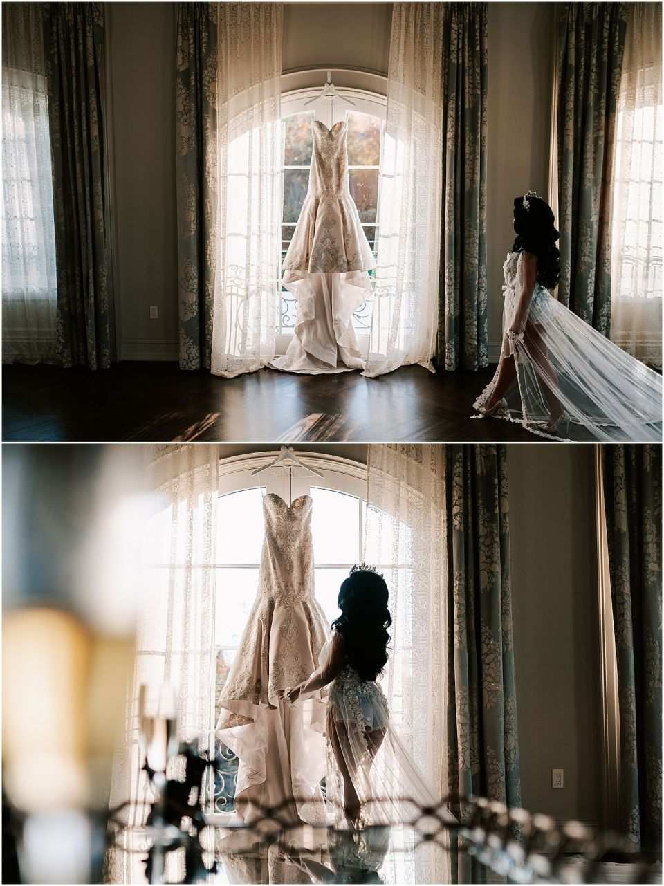 The bride admiring her lovely dress before her Park Chateau wedding