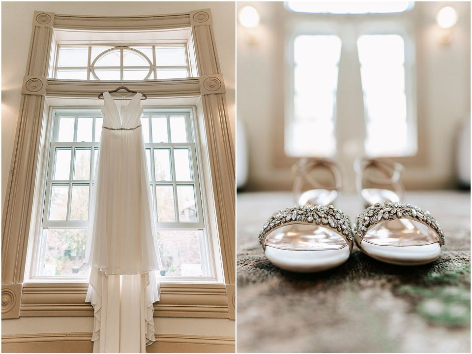 Close up details of the shoes and dress at this Olde Mill Inn Wedding