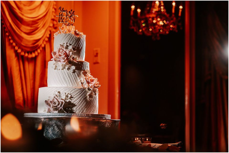 A shot of the cake at this Olde Mill Inn Wedding