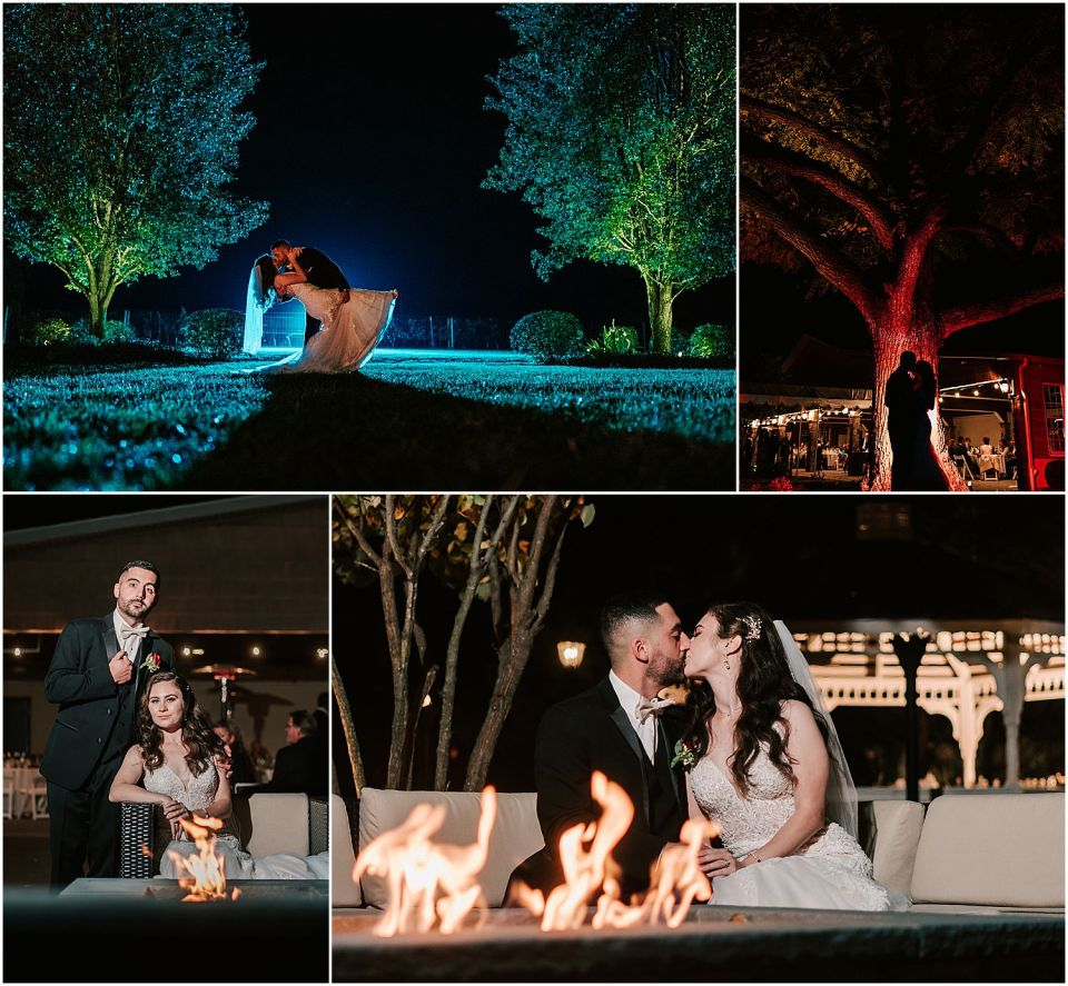 Nighttime portraits of the couple at this Valenzano Winery Wedding