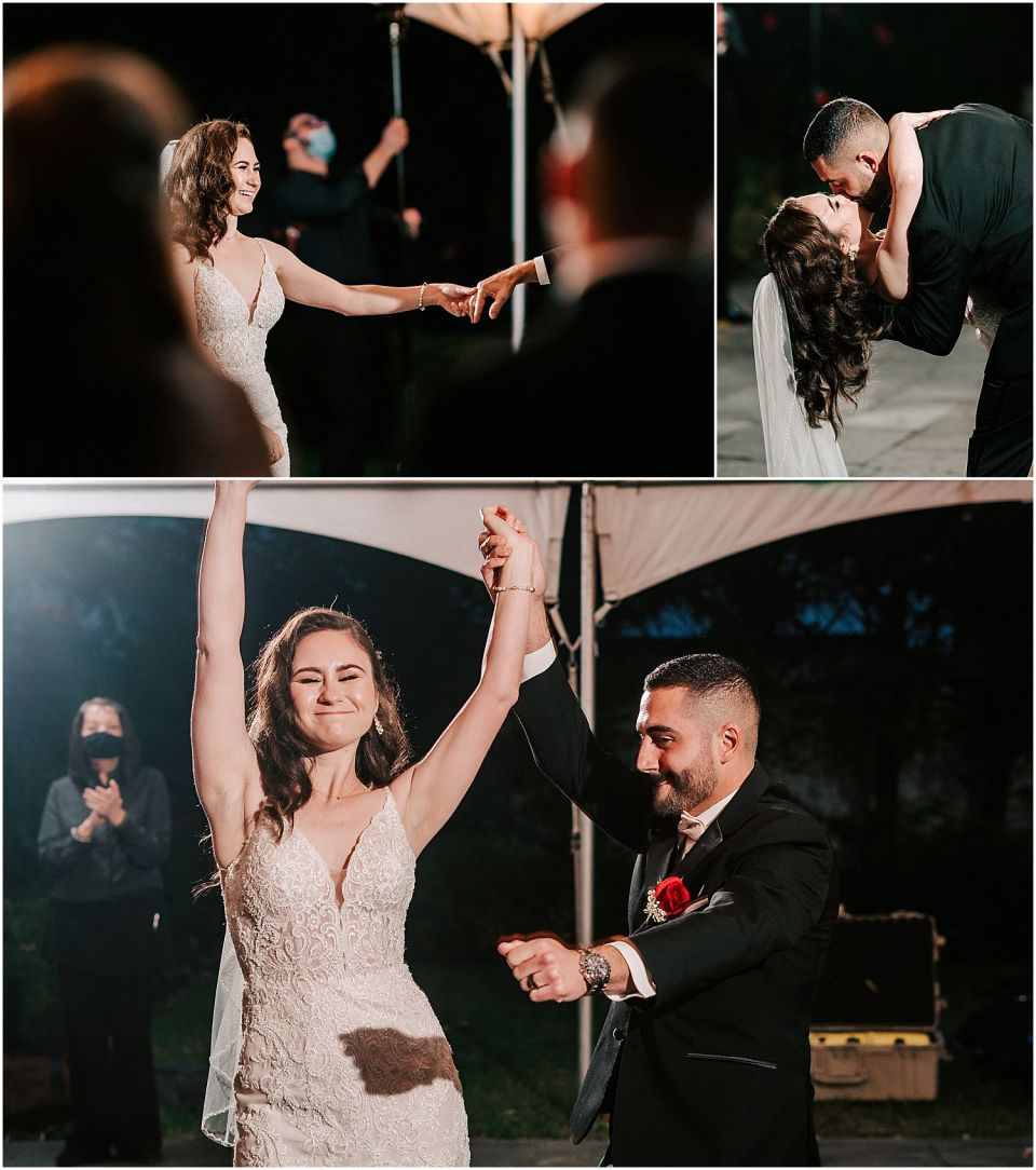 The bride and groom having fun at their Valenzano Winery Wedding