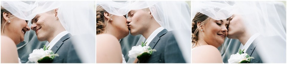 kiss under the veil at this Bradford Estate Wedding