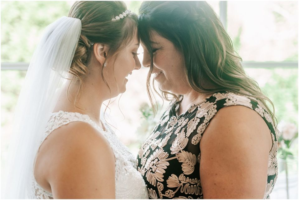 Mother and daughter candid moment at this Bradford Estate Wedding