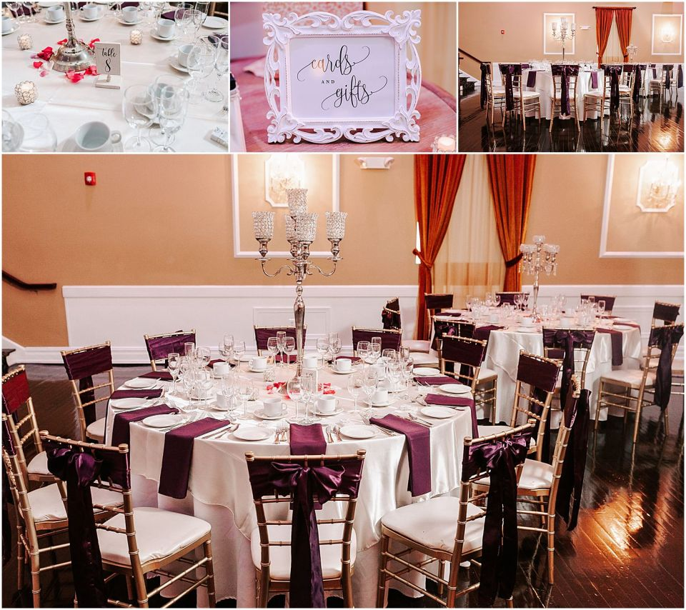 Reception details at this Hamilton Manor Wedding venue