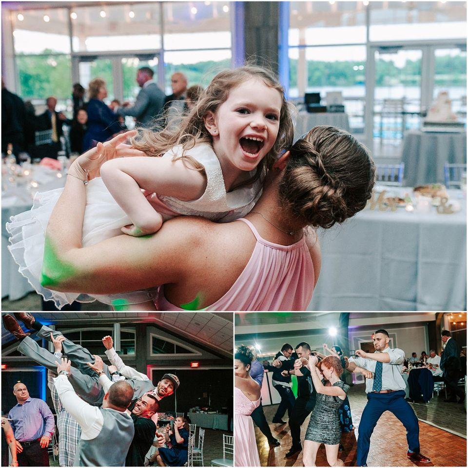 Fun dancing shots at The Boathouse at Mercer Lake Wedding