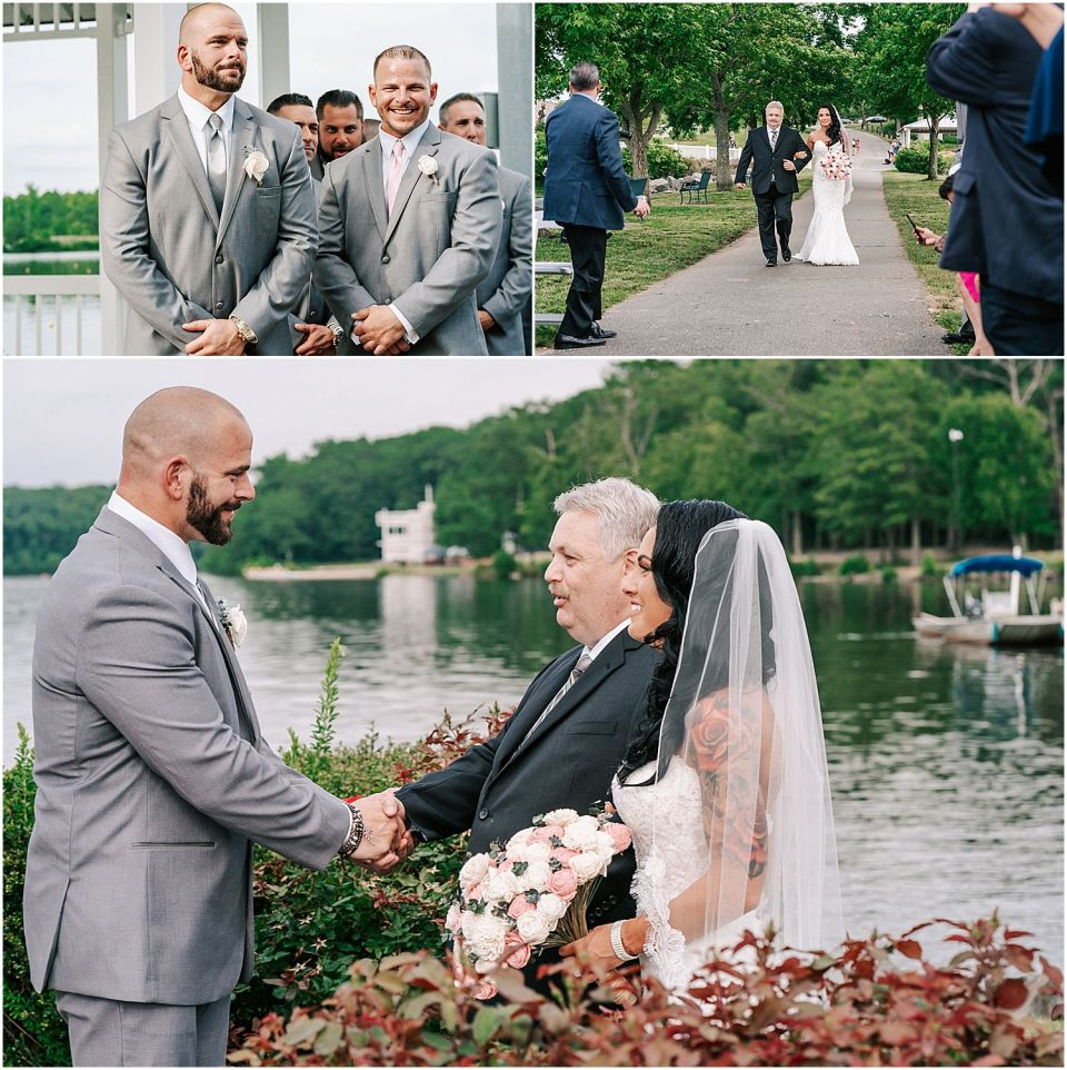 Capturing the couple walk down the aisle at The Boathouse at Mercer Lake Wedding