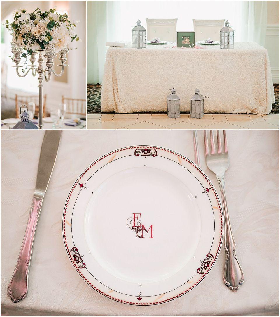 Reception details at the English Manor wedding venue