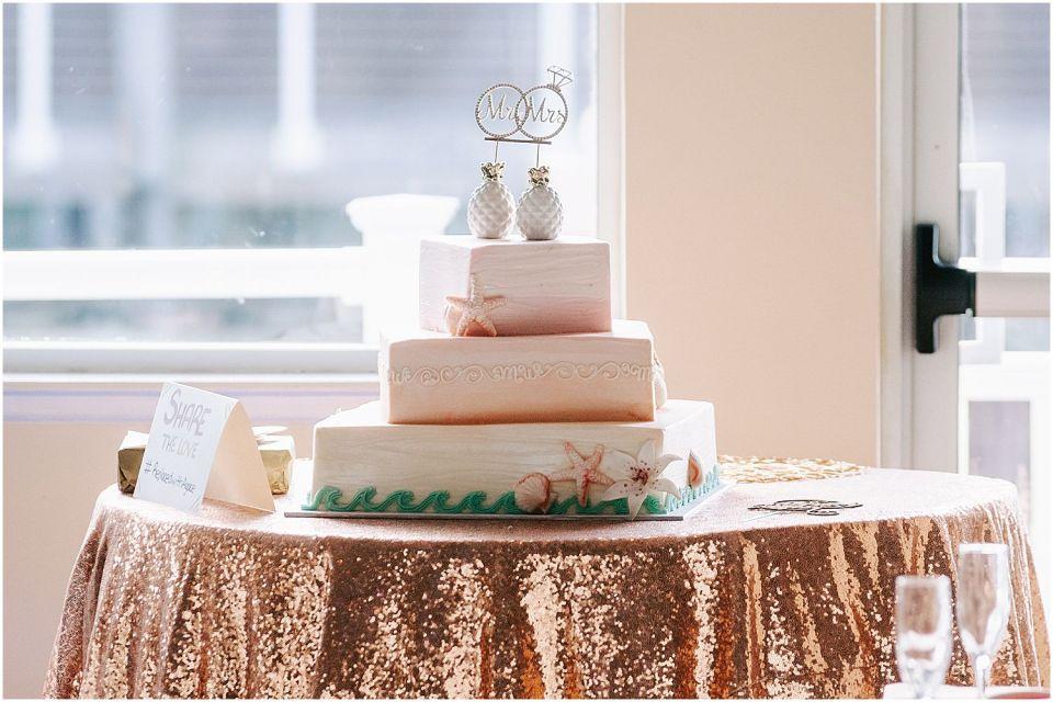 Wedding cake at the Sunset Ballroom Wedding venue