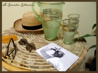 cappello panama, occhiali da sole e set per il fresco autentici d'epoca