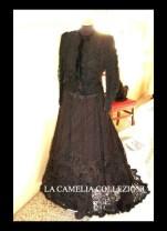 abito in macramè su base chiffon fine 1800 - moda femminile 1800 - la camelia collezioni