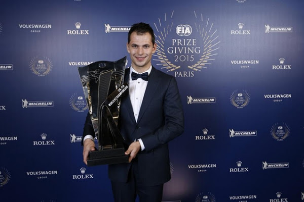Jorrit Pex received the trophy for the victory of the KZ World Championship at the yearly FIA Prize Giving ceremony.
