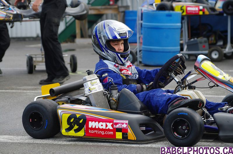 Olivier bedard in his kart at a young age