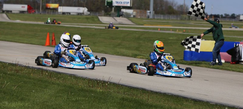 The Top Kart USA Yamaha Senior drivers all fought for the win on Saturday (Photo Kathy Churchill)