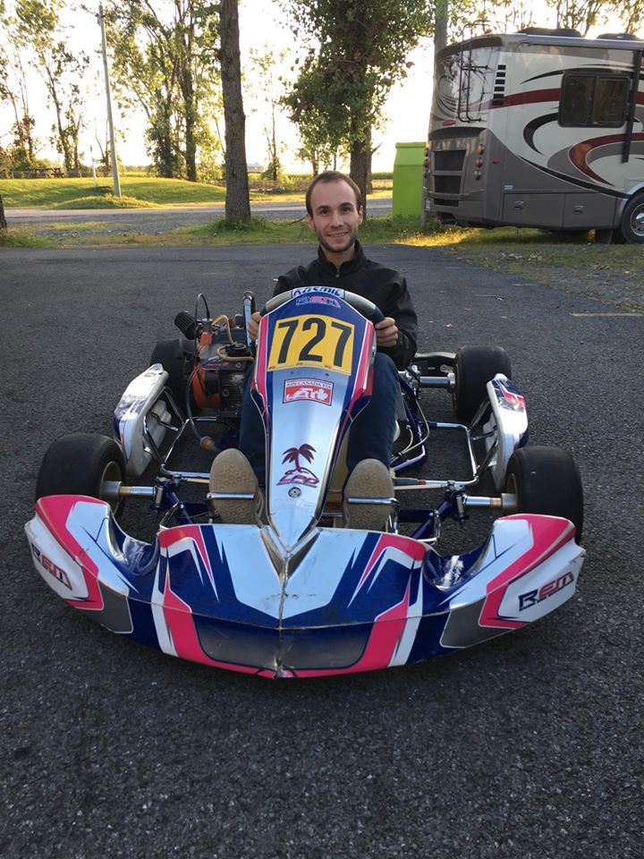 Zephyrin Dupain in his kart without helmet
