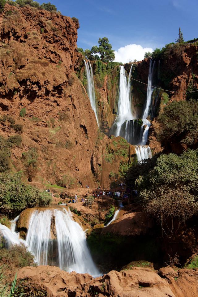 Wodospady Ouzoud niemal wcałej okazałości
